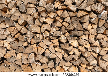 Chopped wood stacked firewood background