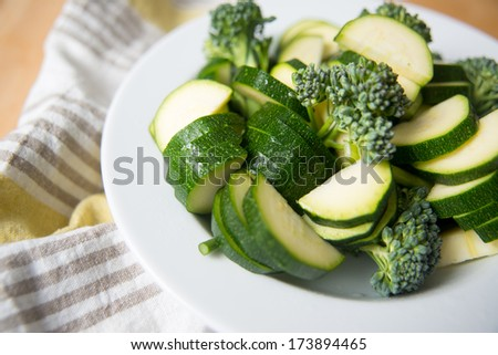 Chopped Zucchini and Broccolini Ready for Cooking - stock photo