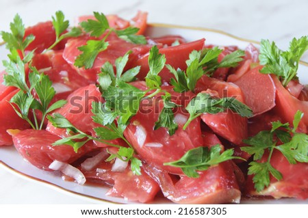 choppeed tomatoes - stock photo