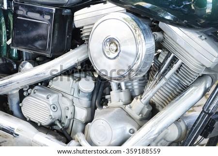 Chopper bike engine detail. - stock photo