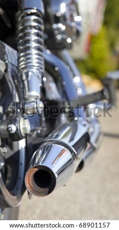 chopper motorbike exhaust - stock photo