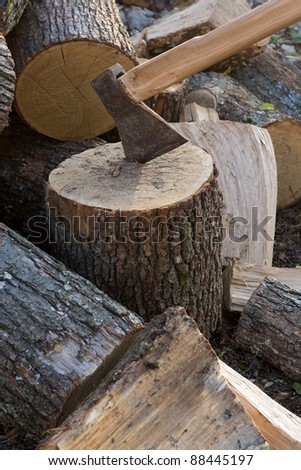 Chopping wood with axe.