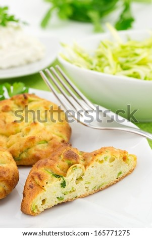 chops with zucchini and ricotta  - stock photo