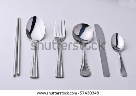 chopsticks fork, knife and spoons isolated