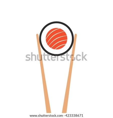 chopsticks holding sushi roll. concept of snack, susi, exotic nutrition, sushi restaurant, sea food. isolated on white background. flat style trend modern logotype design illustration - stock photo