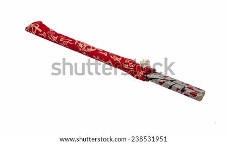 chopsticks isolated on white background - stock photo