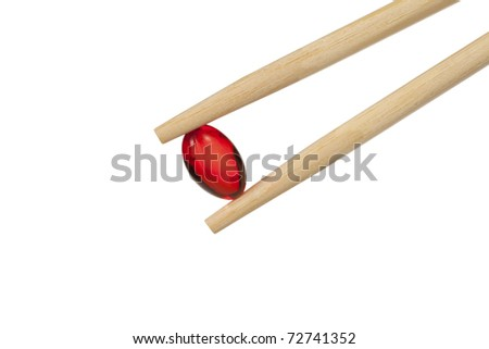 chopsticks keep the red pill. isolated on a white background.