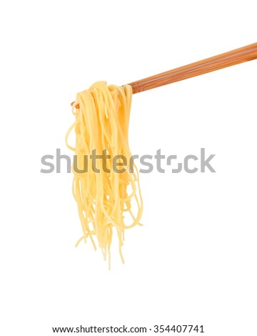 chopsticks noodles isolated on white background  this has clipping path. - stock photo