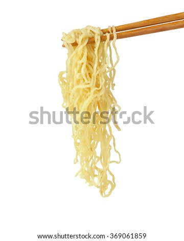 chopsticks noodles isolated on white background with clipping path. - stock photo