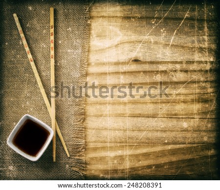 chopsticks on the grunge table