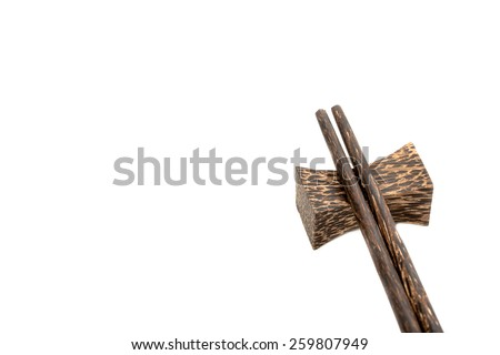 Chopsticks on white background.