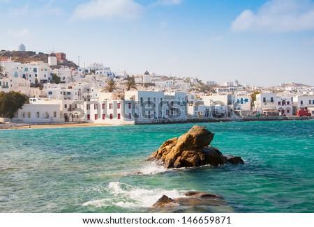 Chora Mykonos town near the sea - stock photo