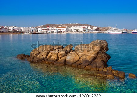 Chora Mykonos town near the sea - stock photo