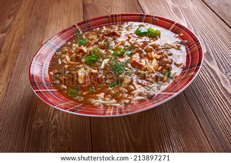 Chorba de Lentilles - Algerian Lentil Soup  - stock photo