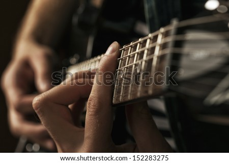 chord on an electric guitar - stock photo