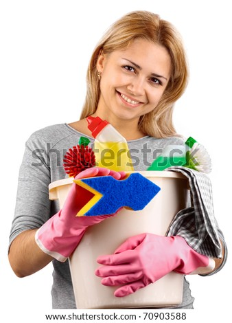 Chores around the house. Isolated on white background - stock photo