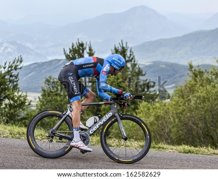 CHORGES, FRANCE- JUL 17:The Canadian cyclist Ryder Hesjedal from Garmin-Sharp Team pedaling during the stage 17 of Le Tour de France 2013, a time trial between Embrun and Chorges on July 17 2013