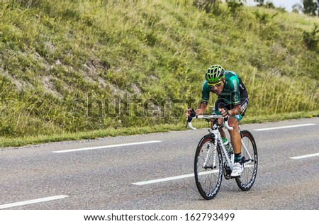 CHORGES, FRANCE- JUL 17:The Italian cyclist Davide Malacarne  from Team Europcar pedaling during the stage 17 of Le Tour de France 2013, a time trial between Embrun and Chorges on July 17 2013