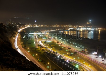 chorrillos panoramic view in lima peru - stock photo