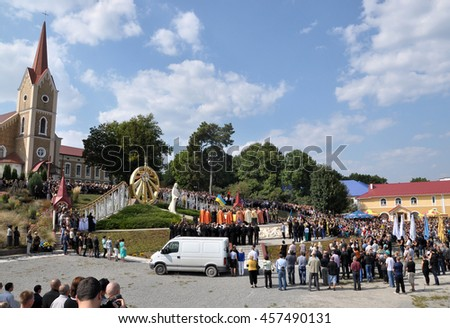 Chortkiv - Ternopil - Ukraine - 9 September 2014. Residents in Chortkiv last journey escorted his countryman Roman Ilyashenko, a young soldier who was killed in the Donbass in the war with Russia