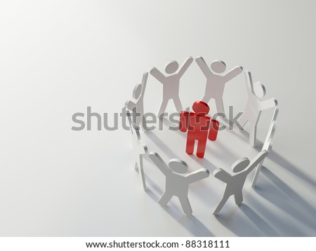 Chosen one. Group of people standing in a circle with hands up around one bright red figure. Concept of uniqueness, individuality and teamwork - stock photo