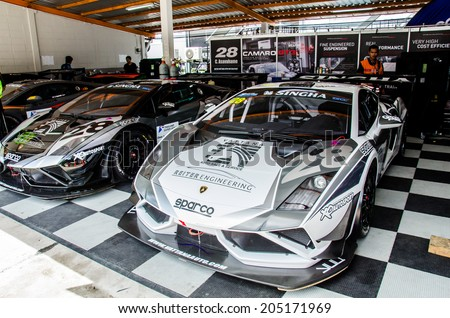 CHOUN BURI - JULY 5 : Lamborghini Gallardo LP600 GT3 FL2 car in pit on display at the Thailand Super Series 2014 Race 3 on July 5, 2014 at the Bira International Circuit Pattaya, Chon Buri Thailand.
