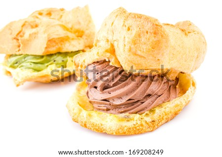 Choux cream on white background