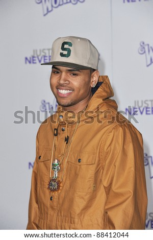 "Chris Brown at the Los Angeles premiere of ""Justin Bieber: Never Say Never"" at the Nokia Theatre LA Live. February 8, 2011  Los Angeles, CA Picture: Paul Smith / Featureflash - stock photo"