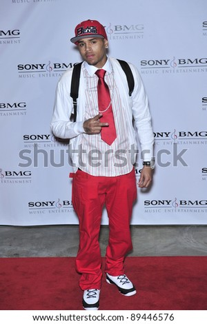 Chris Brown at the Sony BMG Music Entertainment party at the Beverly Hills Hotel following the 2008 Grammy Awards. February 10, 2008  Los Angeles, CA Picture: Paul Smith / Featureflash - stock photo