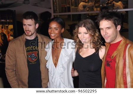 "CHRIS EVANS (left), JOY BRYANT, JESSICA BIEL & DANE COOK at the Los Angeles premiere of their new movie ""London"". February 6, 2006  Los Angeles, CA.  2006 Paul Smith / Featureflash - stock photo"