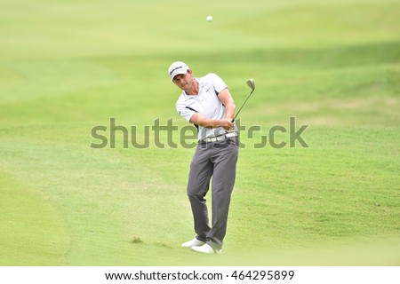 Chris Hanson of England  in action during round one of the King's Cup at Phoenix Gold Golf and Country Club on July 28, 2016 in Pattaya, Thailand.