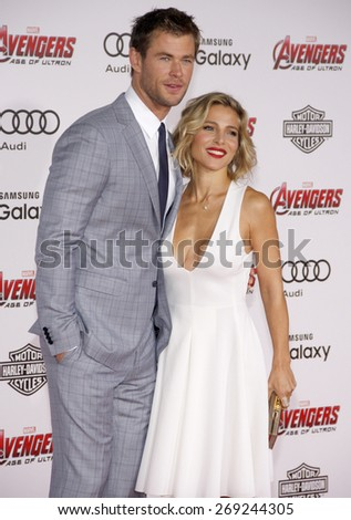 Chris Hemsworth and Elsa Pataky at the World premiere of Marvel's 'Avengers: Age Of Ultron' held at the Dolby Theatre in Hollywood, USA on April 13, 2015. - stock photo