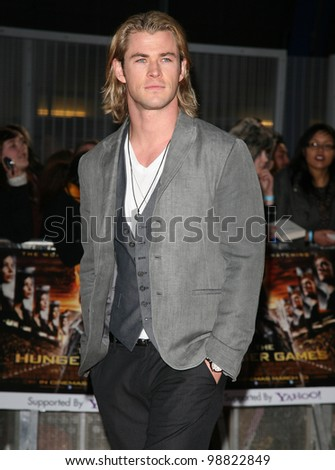 Chris Hemsworth arriving at the European Premiere of 'The Hunger Games' at the O2 Arena, London. 14/03/2012 Picture by: Alexandra Glen / Featureflash - stock photo