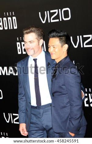 Chris Pine and John Cho attend at the Star TreK Beyond  premiere during Comic Con on July 20, 2016 at the Embarcadero Marina Park South in San Diego, CA.