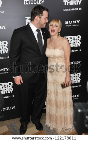"Chris Pratt & wife Anna Faris at the premiere of his movie ""Zero Dark Thirty"" at the Dolby Theatre, Hollywood. December 10, 2012  Los Angeles, CA Picture: Paul Smith - stock photo"