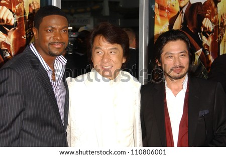 "Chris Tucker with Jackie Chan and Hiroyuki Sanada at the Los Angeles Premiere of ""Rush Hour 3"". Mann's Chinese Theater, Hollywood, CA. 07-30-07 - stock photo"