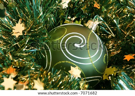 Chrismas ball and garland - stock photo