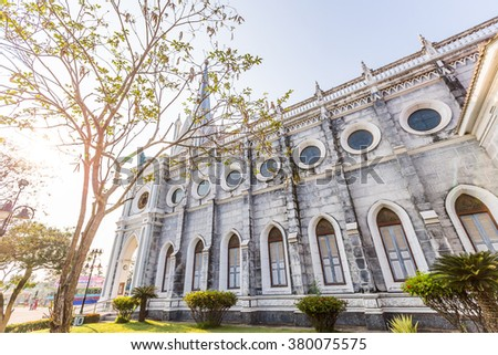 Christ Church and tree in Thailand  - stock photo