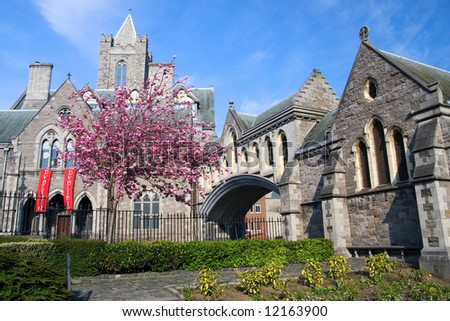 Christ Church Cathedral in Dublin, Ireland. - stock photo