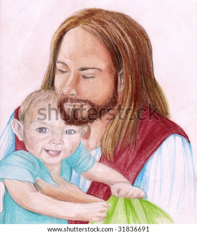 Christ holding a young child - stock photo