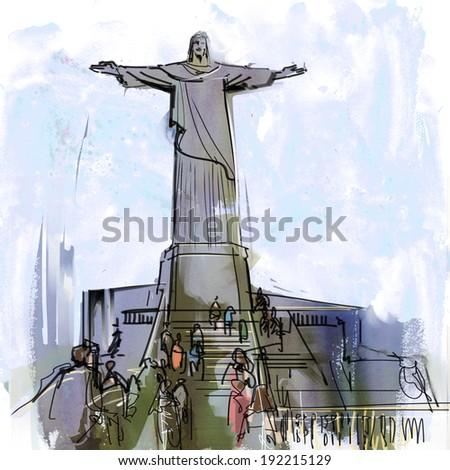 Christ image of Rio - stock photo