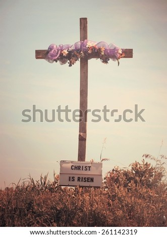 Christ is Risen sign, vintage effect - stock photo