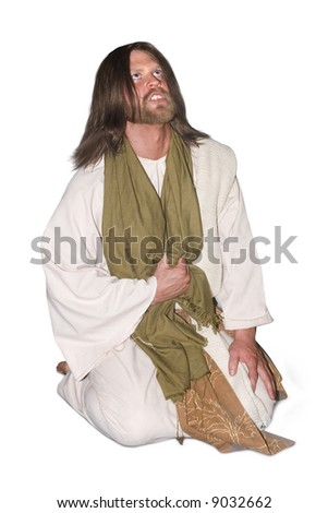 Christ kneeling and praying to God the Father - stock photo