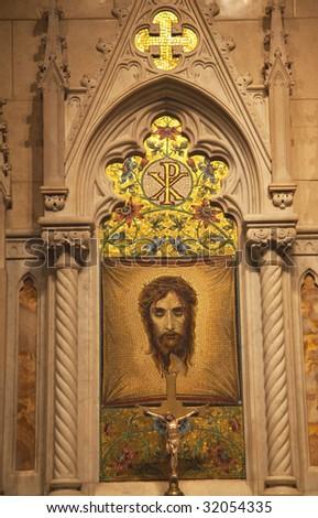 Christ Shrine Mosaic Crucifix Saint Patrick's Cathedral New York - stock photo