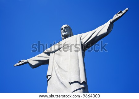 Christ the Redeemer on Corcovado Mountain, Rio de Janeiro  Brazil South America  The statue stands 38 m (125 feet) tall and is located at the peak of the 710-m (2330-foot) Corcovado mountain - stock photo