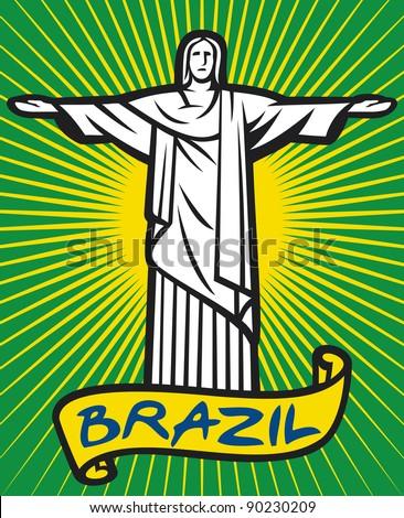 Christ the Redeemer statue in Rio de Janeiro, Brazil - stock photo