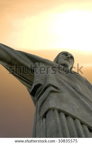 Christ the Redeemer statue on Corcavado Mountain, Rio - stock photo
