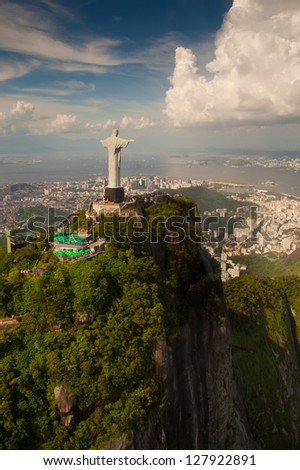 Christ the Redeemer statue on Corcovado mountain in Rio de Janeiro, Brasil. - stock photo