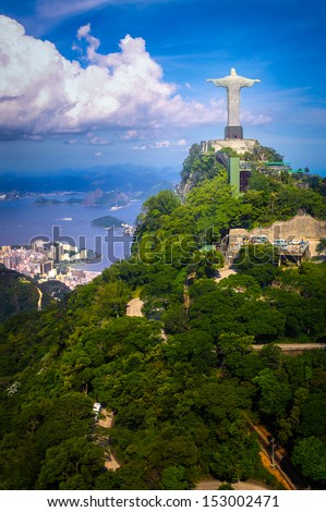 Christ the Redeemer statue on the top of a mountain, Rio De Janeiro, Brazil - stock photo