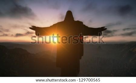 Christ the Redemeer at Sunset, Rio de Janeiro, Brazil, 3D render - stock photo